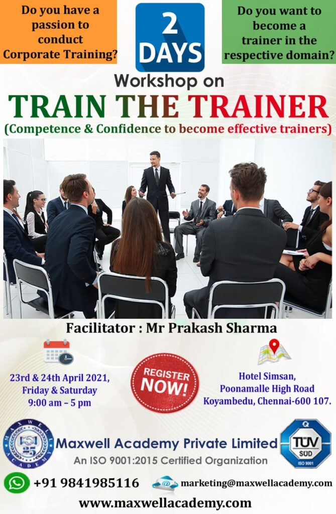Maxwell Training to the trainers, Corporate training